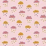 HIGGS & Doppel Gaze Baumwolle Stoff - lächelnd Wolken - Senf Rose auf rosa - Schneiderei - Half metre