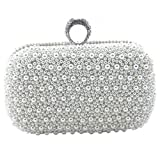 Heyjewels Elegant Handgemacht Weiss Perlen Beaded Clutch Brauttasche Unterarmtasche Party Abendtasche