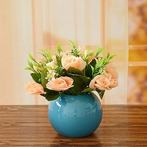 KXZZY Fiore Di Emulazione Globale Vegetazione FlorealeIl Soggiorno Tavolo Da Pranzo Home Decorazioni Artificiale Di Plastica Di Fiori E Piante Ornamentali,Vaso Rotondo Blu1