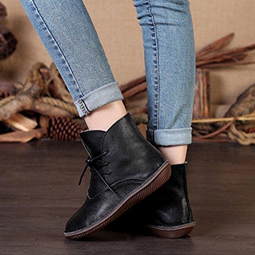 Vogstyle Damen Leder Stiefel New Flache Schuhe Art 1 Schwarz Fleece