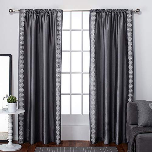 Exclusive Home Tiffany gestreift Stickerei Rod Pocket Window Vorhang Panels (Set of 2), Black Pearl, 137,2x 213,4cm, Polyester, Black Pearl, 54 Inches x 84 Inches