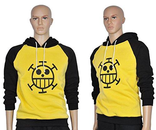 Kuscheliger Trafalgar Law Kapuzen Pullover mit Jolly Roger der Heart Piratenbande, Größe: XL (Trafalgar Law Kostüme)