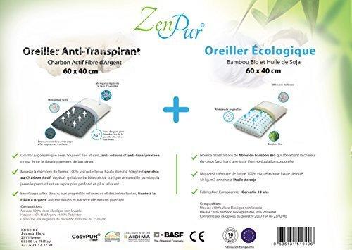 ZenPur - Pack 2 Oreillers (1 Oreiller Fibre de Bambou à Mémoire de Forme + 1 Oreiller Premium Cervicales Anti-Transpirant Fibre d'Argent enrichie au Charbon Actif) - Accepte une taie 50x70cm/Oreiller.