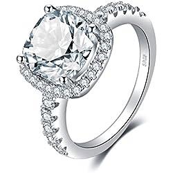 JewelryPalace en Forme de Coussin 3ct Zircone Cubique Mariage Anniversaire Halo Solitaire Fiançailles Bague de Femme en Argent 925