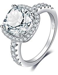 JewelryPalace Anillo de Compromiso 3ct Con Zirconia Cúbica Promiso Halo Solitario en Forma de Cojín Plata