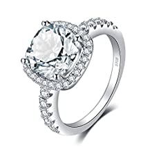 JewelryPalace Cushion 3ct Cubic Zirconia Promise Halo Solitaire Engagement Ring 925 Sterling Silver
