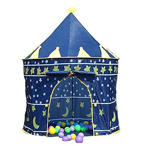 Lemonda Tente de Jeu Maison de Jouer Portable Pliant Cabane Pop-up Château de Princesse Pour Enfant à l'Intérieur ou Extérieur de Maison Dimension: 105 x 135cm (Bleu)