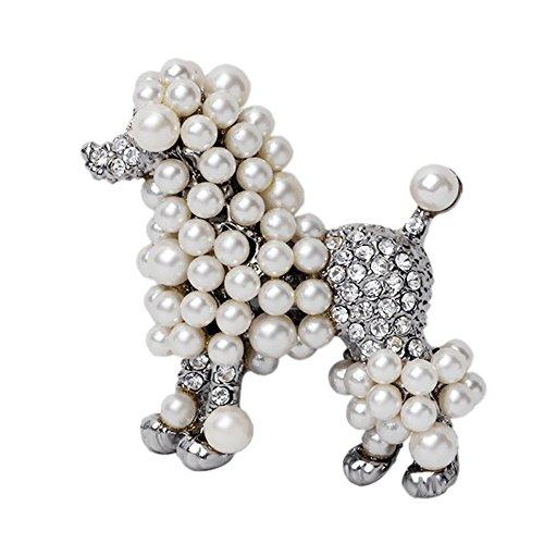Fengteng Silber Perle Strass Hund Pudel Brosche für Mädchen Tier Abzeichen