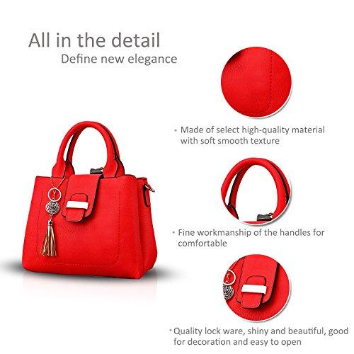 NICOLE&DORIS Mode Einfach Frauen Handtasche Crossbody Schultertasche Wasserdicht PU Grau Groß Rot
