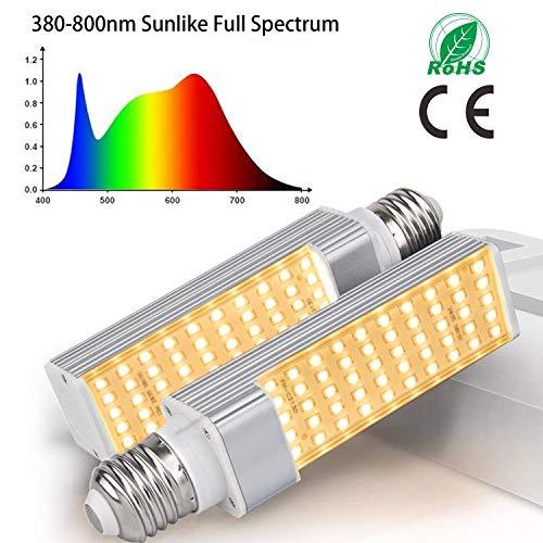50W LED Grow Light Bulbs, 2 PZ E27 Lampadina sostituibile per piante da impianto, lampada solare a spettro completo ingrandisci lampada per piante da interno, piantina, crescita e fruttificazione