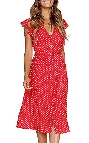 Pocket Kleid (Angashion Women's Short Sleeve Casual Summer Dress with Pockets Rot Punkte L)