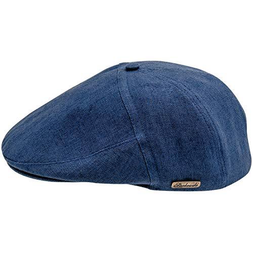 Sterkowski été 100 % lin très facile à 5 panneaux applejack béret-casquette plate, Bleu, XXL
