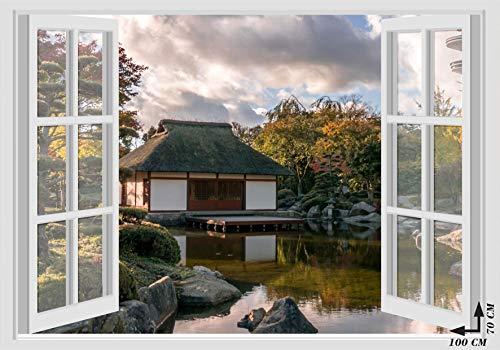 Adesivi murali finestra - giappone japan casa lago - 70x100 cm wall stickes