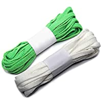 rismart Wide Flat Shoe Laces Appr. 141.7IN Length for Long Canvas Sneakers Boots - Eight Colors P27 (White&Green(2 pairs),360 CM)