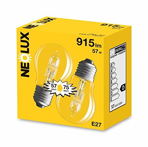 Neolux 4052899171091 Ampoule Halogène Standard Verre 57 W E27 Transparent Lot de 2
