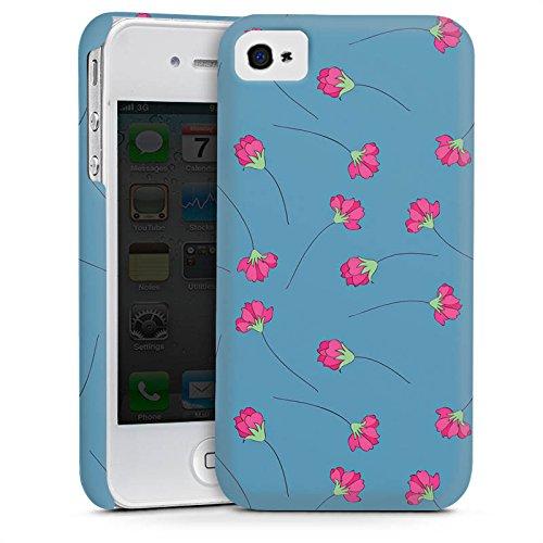Apple iPhone 4 Housse Étui Silicone Coque Protection Fleurs Fleurs Bleu Cas Premium mat