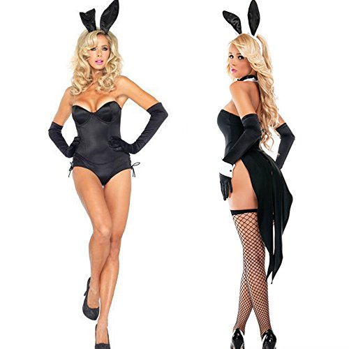 (WBLIN Damen Charm Bunny Girl Cosplay Outfit Kostüm Set Frauen Versuchung Uniformen Playsuit Sexy Dessous Set Halloween Kostüme Set)