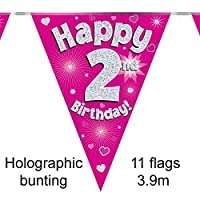 Happy 2nd Birthday Pink Holographic Foil Party Bunting 3.9m Long 11 Flags by Oak Tree