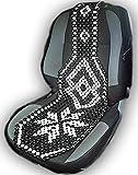 A-Express Schwarz Creme Holzkugel-Sitzauflage mit Holzperlen für alle Autositze mit normaler Rückenlehne