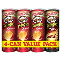 Pringles 165g - Original x3, Hot & Spicy x1 (Pack of 4)