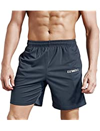 LUWELL Men's Running Shorts With Pockets Quick Dry Breathable Active Gym Shorts for Workout,Training,Jogging