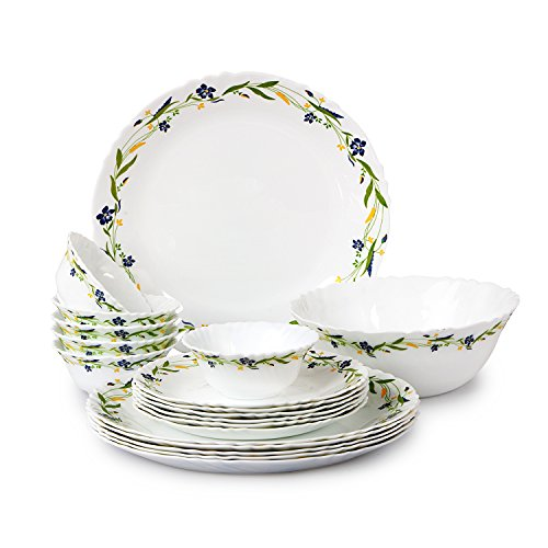 Cello Imperial Amazon Creeper Opalware Dinner Set, 19 Pieces, White