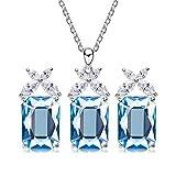 AmDxD 925 Sterling Silber Schmuck-Set Blumen Form Halskette Ohrringe Damen Abendkleid Schmuck Sea Blau mit sea Blau Zirkonia