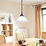 Pendelleuchte Ø 34cm im Landhausstil | Hängelampe rostfarben mit Alabasterglas | Pendellampe 1xE27 max.60W | Hängeleuchte inklusive Gratis LED Taschenlampe