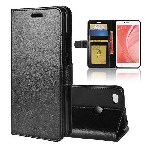 Funda XiaoMi RedMi Note 5A Prime,funda piel GOGME[Billetera Caso Serie]Carcasa elegante, resistente, funcional y cómoda.negro