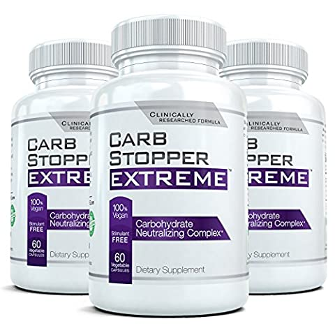 CARB STOPPER EXTREME (3 Bottles) - Maximum Strength Carbohydrate & Starch Blocker Weight Loss Supplement with White Kidney Bean