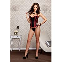 iCollection Women's Faux Leather Trim Corset and G-String