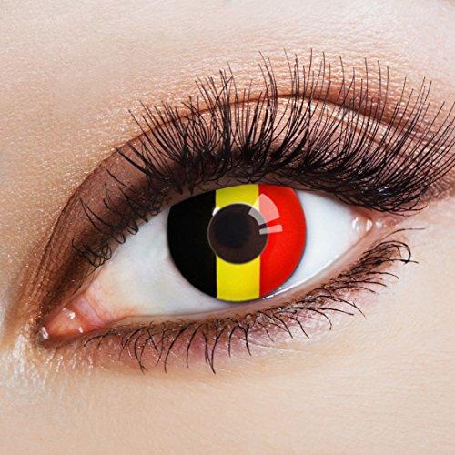 aricona Farblinsen Farbige Kontaktlinse Flagge Diables Rouges -Deckende Jahreslinsen für dunkle und helle Augenfarben ohne Stärke,Farblinsen für Karneval,Fasching,Motto-Partys und Halloween (Halloween Sieger Kostüm)