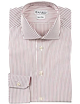 Ernani Camicia Popeline Riga Bordeaux Slim Fit, collo francese, uomo - Made in Italy -