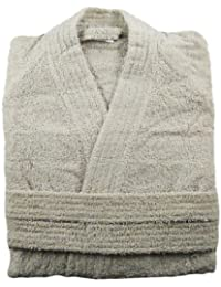 Oatmeal Grey Kimono Style 100% Cotton Terry Towelling Bathrobe Bath Robe + Matching Belt - Medium