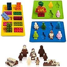 eighteen-u con forma de Lego robot molde, juego de 3moldes de silicona para los amantes de Lego bloques de construcción y robots de tarta de cumpleaños Decoración Candy moldes Chocolate moldes de jabón Moldes para hornear moldes Smile taburete cubo de hielo Candy Jello Moldes de postre