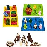 Eighteen-U Silikon-Formen in Form eines Roboters, 3er-Set für Lego-Liebhaber, Bausteine und Roboter, Geburtstagskuchendekoration, Süßigkeiten, Schokoladenformen, Seife, Backformen