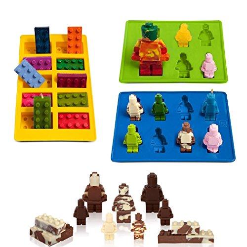 eighteen-u Lego geformte Roboter Form, Set von 3Silikon Formen für LEGO Liebhaber Bausteine und Roboter Geburtstag Kuchen Dekoration Candy Formen Schokolade Formen Seife Formen Backen Formen Smile Hocker Ice Cube Jello Formen Candy Dessert (Schokolade-backen-form)