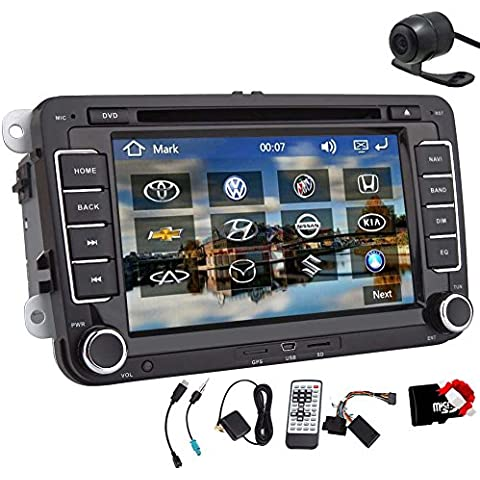 Autoradio per il VW Volkswagen Jetta Passat Tiguan Multi-touch screen lettore DVD di navigazione di GPS Costruire-in Bluetooth, FM radio AM, AUX e USB, comandi di iPhone / iPod, controllo del volante, libero Map