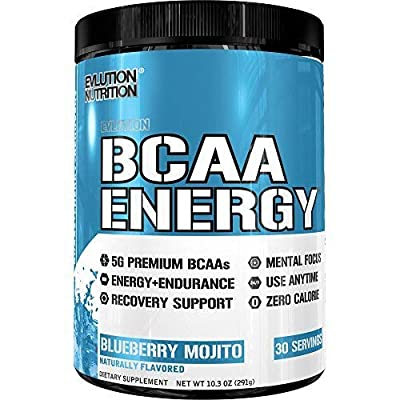 Evlution Nutrition BCAA Energy - High Performance, Energizing Amino Acid Supplement for Muscle Building, Recovery, and Endurance, (Blueberry Mojito, 30 Servings)