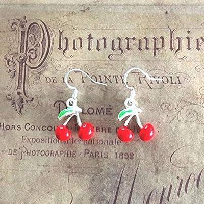 Boucles d'oreilles rockabilly pin up cerises rouge, handmade image 0 image 1 image 2 Boucles d'oreilles rockabilly pin up cerises rouge