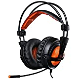 EasySMX Casque Audio Filaire avec Basses Profondes, Ultraléger, Ecouteur Hi-Fi de 3.5mm Jack avec LED Lampe Luminosité, bien anti-Bruit, Compatible pour PC, Tablettes, MP3, MP4, HUAHEI, iPhone 6/6s/6s plus, Sony, Samsung etc. (Noir+Orange)