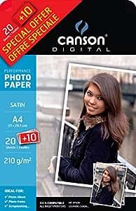 Canson Performance Satin Pack de 30 Papiers photo 210 g/m² A4 Blanc