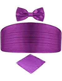 DonDon Men's triple pack with colour coordinated cummerbund bow tie breast pocket handkerchief perfect for special occassions