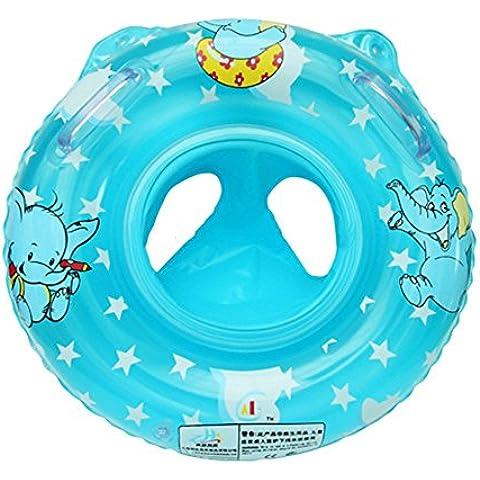 Vococal - Asiento Inflable de Seguridad Flotador de Piscina Nadar Anillo Bajo Brazo Aro de Baño con Mango,Dibujos Animados Elefante Bebé Niño,Azul