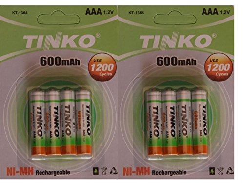 8 x 600 mAh 1,2 V recargable AAA NI-MH baterías Teléfono