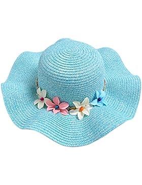 Vi.yo Sombrero de viaje al aire libre de paja de verano de flores de flores de verano de niñas size 50-52cm (Cielo...