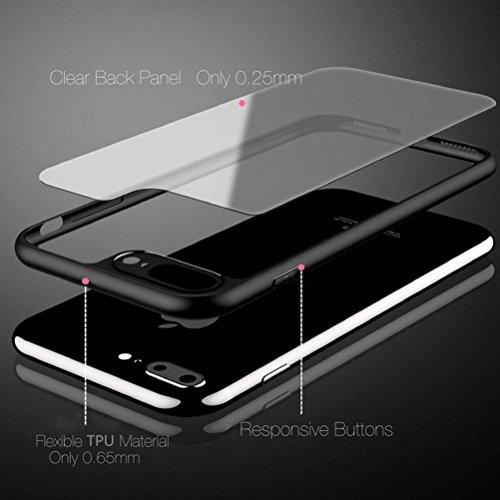cover iPhone 7,Cover Protettiva con Impact Absorbing Gomma e pannello posteriore completamente trasparente per Apple iPhone 7 (Jet Black) Nera
