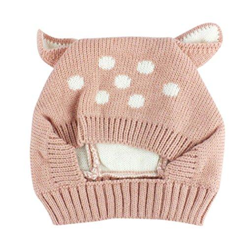 ❤Hat Mütze Schal, Kobay Herbst Und Winter Babymütze Mädchen Jungen Cap Kinder Hüte Kleinkind Kinderhut (Geeignet für 0-3 Jahre alt, Rosa)