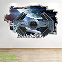 1Stop Graphics Shop SPACE SHIP WALL STICKER WINDOW 3D LOOK - GALAXY STARS BOYS BEDROOM DECAL Z542 Size: Large