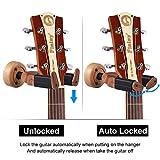 Guitare, Acitmex Auto Lock de crochet support Keeper support mural pour guitare basse Ukulélé Mandolines Plusieurs Instruments de musique (Round-wood Couleur)